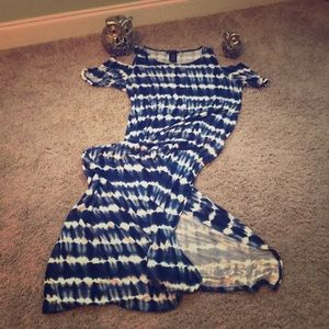 Tie-due Navy/white Maxi dress with Cold shoulders